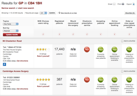 Screenshot of NHS ratings of local GPs
