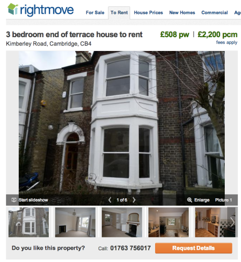 Here's a pretty standard letting ad (partial view) on Rightmove.